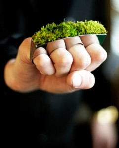 The softer side of brass knuckles.. Moss knuckles? Either way, we love these. By HAF.